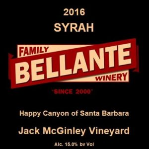 2016 Syrah, Jack McGinley Vineyard (full case only) – OC Fair SILVER MEDAL
