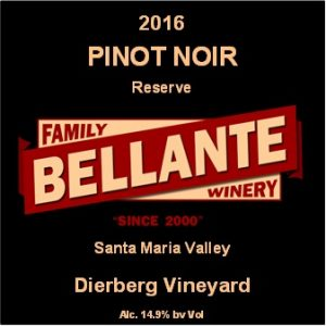 2016 Pinot Noir Reserve, Dierberg Vineyard – Rated 91 pts by Wine Enthusiast, OC Fair SILVER MEDAL