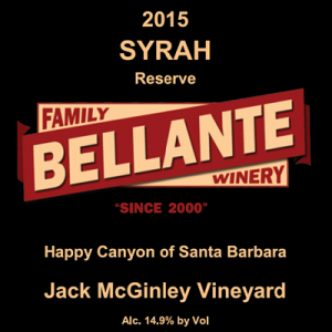 2015 Syrah Reserve, Jack McGinley Vineyard – Cellar Selection Rated 92 pts by Wine Enthusiast