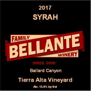 2017 Syrah, Tierra Alta Vineyard – Wine Enthusiast 90 pts, OC Fair SILVER MEDAL