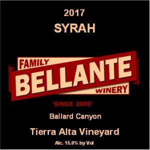 2017 Syrah, Tierra Alta Vineyard – OC Fair SILVER MEDAL